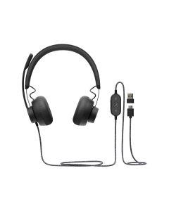 LOGITECH - ZONE USB WIRED HEADSET, GRAPHITE
